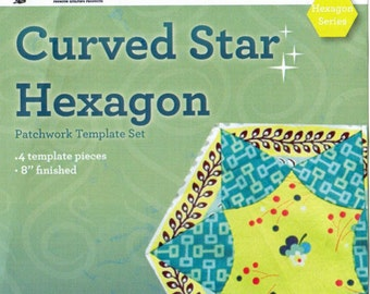 Patchwork Template Set - Curved Star Hexagon from Victorian Textiles 8 inch block finished- online quilting Australia, hexagon series