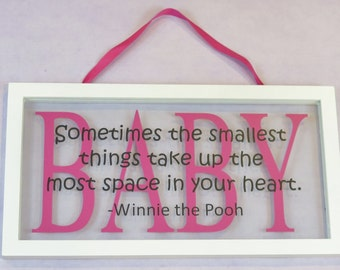 Winnie the Pooh BABY Floating Frame - Nursery Decor - Sometimes the smallest things...Baby Shower Gift Idea