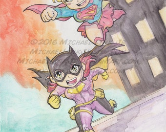 Super Best Friend Forever Chibi Watercolor Painting