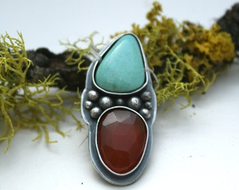 Turquoise and Carnelian, Ring or Necklace - Made To Order Size, boho, glitz, bling, rose cut, faceted, statement, silver, sterling silver