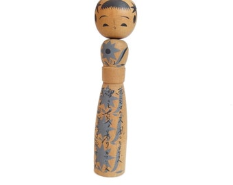 Cheerful Japanese Kokeshi Doll. Handmade Vintage Kokeshi. Cute Japanese Wooden Doll Hand-painted. MCM. Signed.