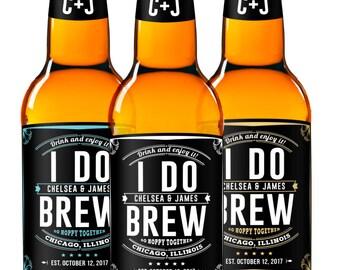 I Do Brew - Beer Labels - Wedding Beer Favors - Custom Beer Labels - Engagement Party Beer Labels - Beer Stickers - So Hoppy Together