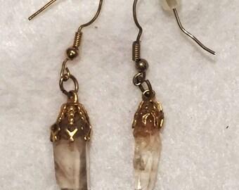 Earrings - Natural quartz crystals