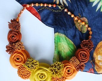 Yellow ombre statement necklace, orange leather necklace, floral bib necklace, statement jewelry, upcycled leather necklace, boho jewellery