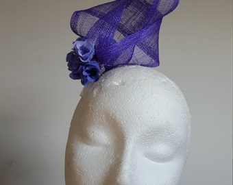 Purple  Fascinator Hat with  Florets   For Wedding , Ascot, Proms