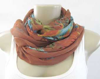 Fashion Scarves Rust Brown Blue Green Floral Scarf