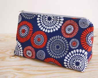 """Cosmetic Bag- Navy and Coral """"Fireworks"""""""