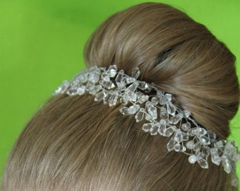 "Sparkly Crystal and Silver Flexible headband ""Jayla"""
