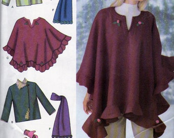 Simplicity 4783, Misses Jacket,  Ladies Poncho, Scarf, Misses Hat and Mittens sewing Pattern, Sizes L to XL, Fleece Capes and Coats