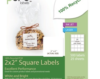 500 2 in Square Labels: Recycled 100% PCW (Bright White) (25 Sheets) LR0003
