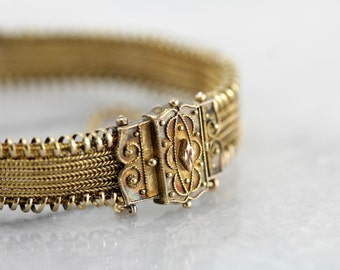 Superb Antique Victorian Mesh Bracelet in Yellow Gold N7Z7QK-N
