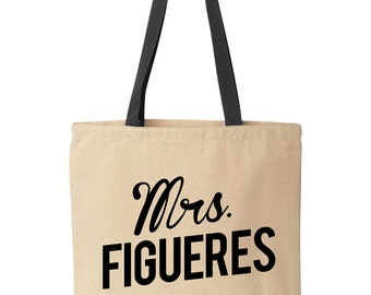 Custom Wife Tote Bag | Personalized Mrs Tote Bag | Custom Mrs Tote Bag | Personalized Canvas Wedding Tote Bag | Custom Wedding Tote Bag