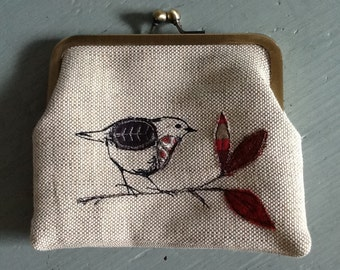 Hand printed, embroidered and appliquéd Robin purse