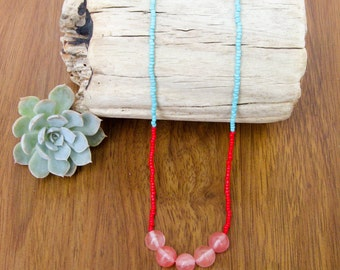 rose glass beaded necklace