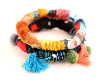 Boho Hippie Bangles Upcycled Multicolour Bangles Stacking Bracelets Fiber Bracelets Embroidered Gipsy Bangles Fabric Bracelets FREE SHIPPING