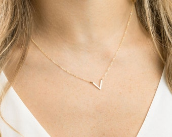 Dainty V Necklace / Gold Fill, Sterling Silver, 14k  Rose Gold Fill Triangle Necklace, Geometric Jewelry /KNOWLEDGE, LN141_10