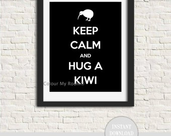 "KEEP CALM and Hug a KIWI 8x10"" Printable Home Wall Art Print Kiwi New Zealand Maori Aotearoa All Blacks Rugby instant download"