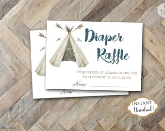 INSTANT DOWNLOAD - Teepee Tribal Diaper Raffle Tickets - Pow Wow Arrow Feather Tribal Diaper Raffle - Boho Diaper Raffle - Boy Tribal - 0441