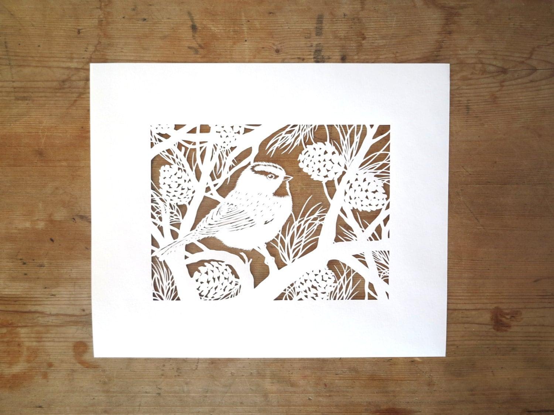Sans cadre original handcut papercut d 39 une m sange de - Couper papier peint sans dechirer ...