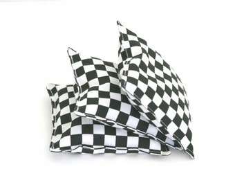 3 Racecar Flag Bean Bags - Kids Washable Beanbag Toss Game - Car Themed Birthday Party Favor - Black and White Checkered Flag - Toddler Gift
