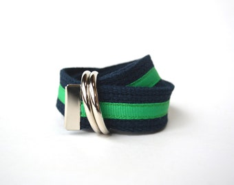 Navy and Green Ribbon Belt - Boys Belt - Canvas Belt - Ring Bearer Belt - Ringer Bearer Outfit - Nautical Wedding Outfit -Navy Toddler Belt