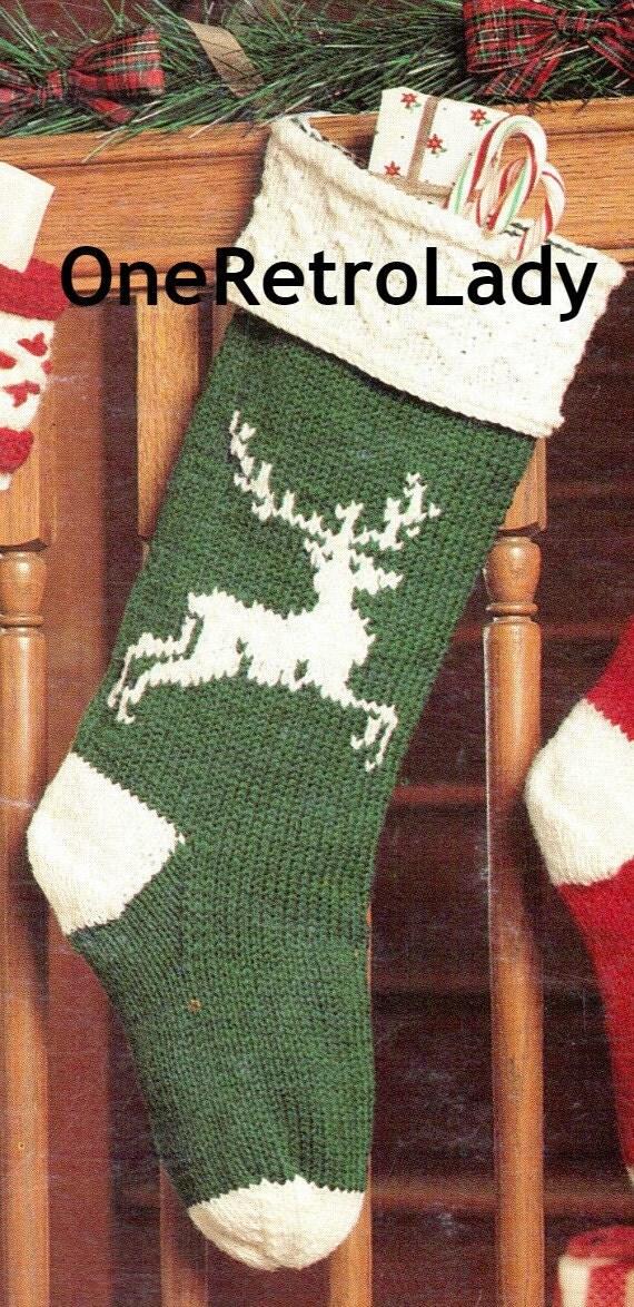 Items similar to Knit Christmas Stocking Pattern, Vintage ...