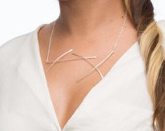 Statement Silver Necklace, Statement Elegant Necklace, Statement Necklace in Sterling Silver,  Modern Silver Necklace, Modern Design