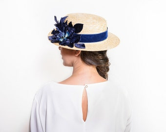 Buchanan - Navy blue floral straw boater hat, Dark blue canotier hat with flowers, floral summer hat, women straw hat, wedding guest hat