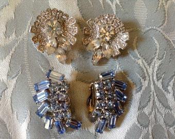 Vintage Weiss Rhinestone Earrings 2 Pair Clear and Baby Blue