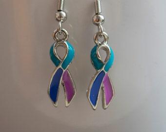 Thyroid Cancer Ribbon Awareness Earrings