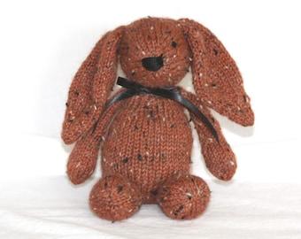 Hand Knit Bunny Rabbit Tweed Alpaca Stuffed Mini Rust Orange handmade