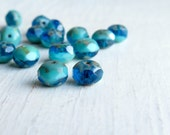 Ala Lani - 6 x 8mm liquid blue turquoise rondelle beads (10), blue czech glass beads, turquoise beads, faceted rondelle beads,