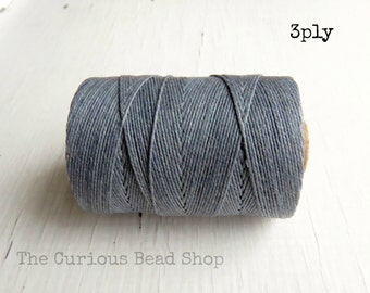 Slate Grey Irish waxed linen cord 3ply (10 yards) - irish waxed linen cord, irish waxed linen thread grey irish linen, uk irish linen cord