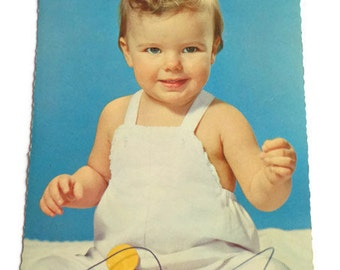 Vintage Children's 1960's Postcard . Retro Photo Postcard 60s . Cute Baby .