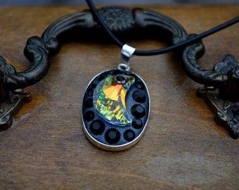 Swarovski AB Moon pendant necklace sterling silver
