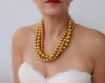 Gold Wedding Necklace Chunky