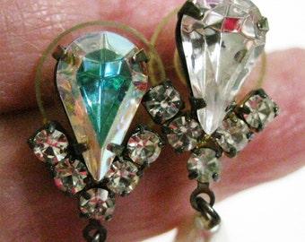New Years Eve Jewelry Pearl and Aurora Borealis Drop Earrings Evening Wear Austrian Crystal Vintage Pierced Earrings New Year's Earrings