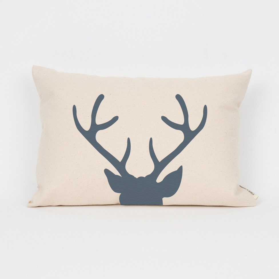 Modern Deer Pillow // Choose Your Ink Color // by FinchandCotter