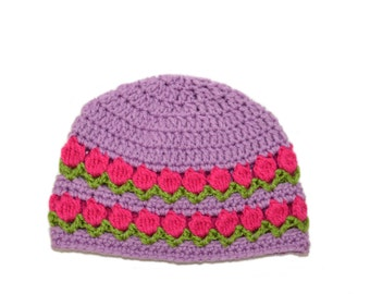 Purple Spring Hat, Spring Beanie, Tulip Beanie, Purple Girls Hat, Flower Cap, Knit Girls Beanie, Pink Tulips, Spring Womens hat, Crochet Cap