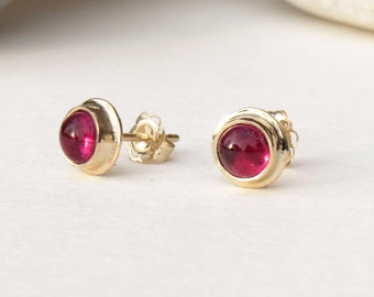 Tourmaline studs, pink tourmaline, gemstone studs, tourmaline earrings, rubellite, 14k gold studs, gold gemstone studs, solid gold