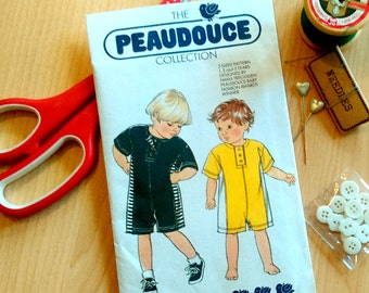 Vintage sewing pattern, Peaudouce baby onesie pattern, Toddler all in one pattern, Child size 1 2 3 years, 80s sewing pattern uncut pattern