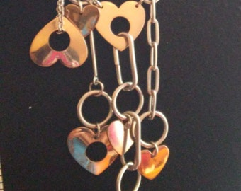 Two-Tone  Silver and gold plated hearts Necklace