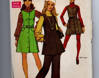 8396 Simplicity Sewing Pattern Jumper Top Mini or Regular Length Size 12 34B Vintage 1960s