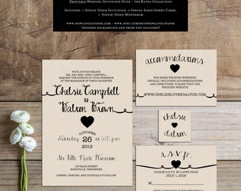 Printable Wedding Invitation Suite - the Rayna Collection