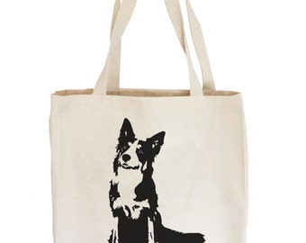 Border Collie Tote Bag, Border Collie Gifts, Personalized Tote Bag, Beach Tote, Market Tote, Large Tote Bag, Shopper Bag, Monofaces Totes