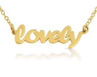 Script Word LOVELY Charm Pendant Jump Ring Necklace #14K Gold Plated over 925 Sterling Silver #Azaggi N0359G