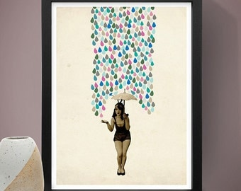 Abstract Art Poster - Girl With The Umbrella, Home Decor, Wall Art, Abstract Poster