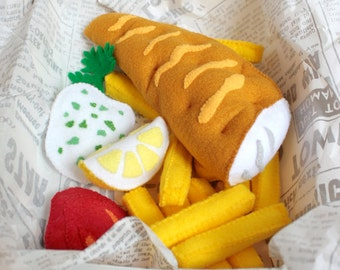 Felt Food Fish and Chips Felt Play Food Set, Plush Toys for Pretend Play, Perfect for Play Kitchen!
