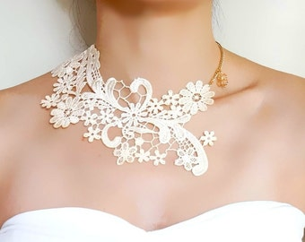 SALE cream white lace choker bib necklace // gold charm floral flower bib // vintage gothic art deco //  hand dyed // lace jewelry gift