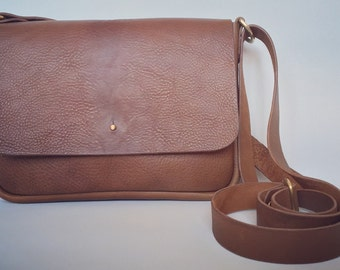 Tan leather satchel, tan leather satchel, small tan leather handbag, tan leather shoulder bag, tan leather cross body bag, leather work bag